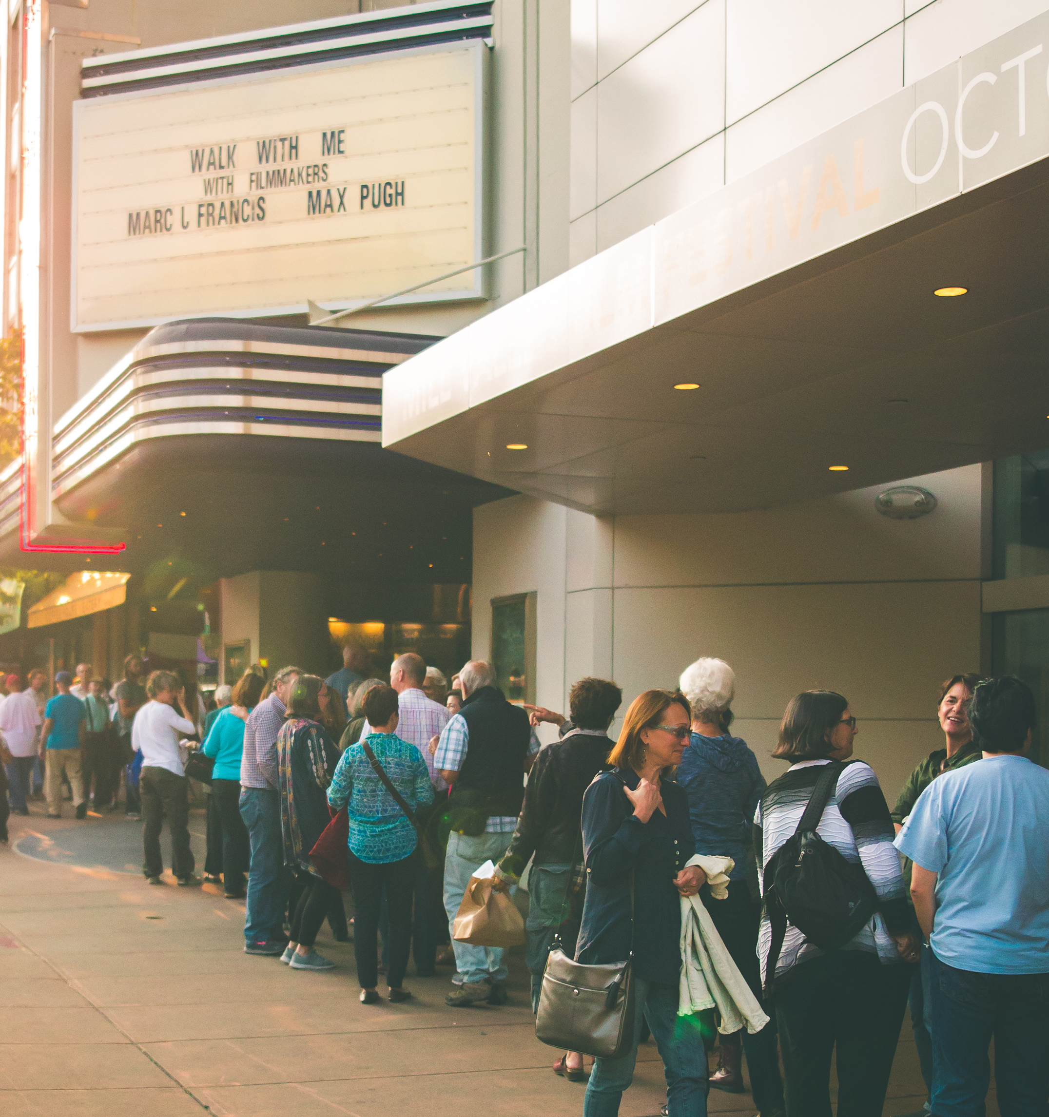 Sold Out Crowd waiting in line to see Walk With Me at the Smith Rafael Film Center