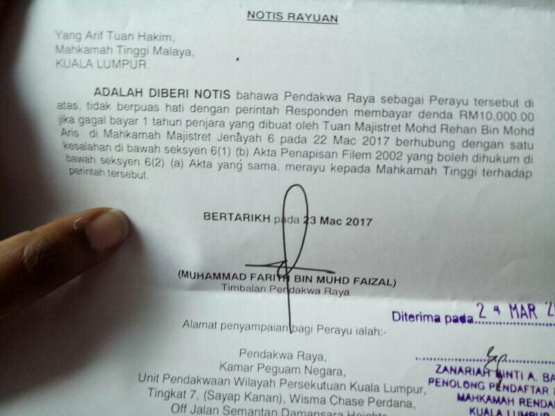 "Letter informing Lena of the Malaysian governments intention to appeal against her sentence on the grounds of being ""too lenient""."